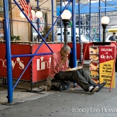 Man Eating on Crate, NYC